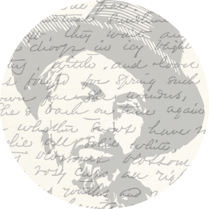 Sketched image of Walt Whitman with scripted text overlaid