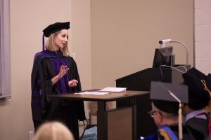 Kelly Todd giving graduation remarks