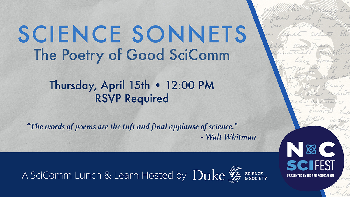Science Sonnets: The Poetry of Good SciComm - Thursday, April 15th, 12:00 - 1:00 PM
